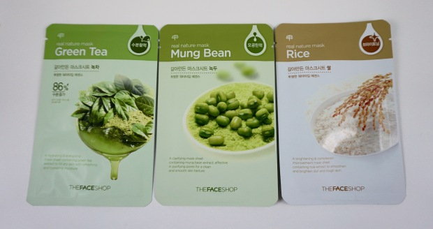 the face shop sheet mask rice mung bean green tea
