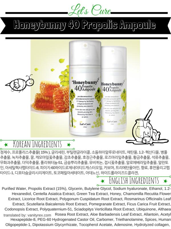 Let's Cure Honeybunny 40 Propolis Ampoule ingredients review