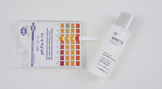 thefaceshop white seed toner pH test
